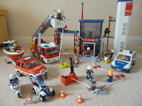 Playmobil Fire & more - firestation & engine, boat, helicopter - excellent condition