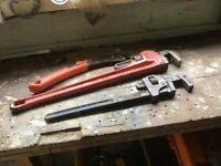 2 Stillsons & 1 Pipe Wrench