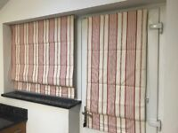 Roman blinds (Set of 3); in red and white stripes