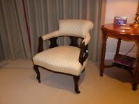 Edwardian Salon Suite chair, professionally upholstered and finished in Monkwell fabric,