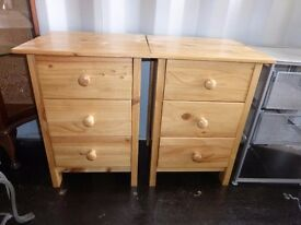 Pine Bed Side Drawers