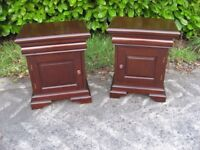Beautiful pair of hardwood bedroom cabinets, tables, drawer