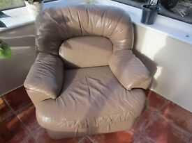 Leather Armchairs in Mushroom colour in very good condition..FOC