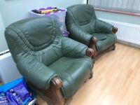 2x green conservatory chairs