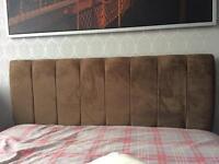 Chocolate brown velvet double bed headboard
