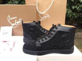 Christian Louboutin Louis Veau Velours Strass With Black Diamonds Size UK 8