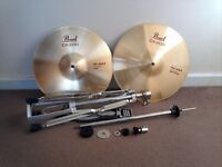 """Pearl 14"""" CX200 Brass Hi-hat Cymbals With Mapex Tornado Cymbal Stand"""
