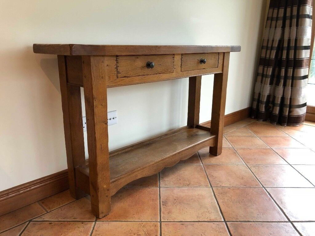 Rustic Oak Hall Console Table Sideboard With 2 Drawers