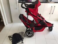 phil & teds sport double or single stroller jogger pram with rain cover only £40