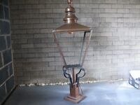 Copper street light top made by Foster & pullen