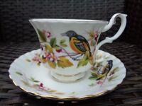 Royal Albert Woodland Series Baltimore Oriole Rare Bone China Tea Cup Saucer Duo