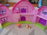 Doll's play house in very good condition, with door bell and characters