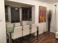 Furniture Village glass dining table & six chairs. Bargain buy it now!