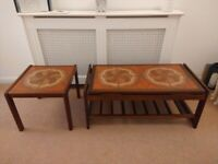 Vintage Mid Century Tiled Top Coffee Table + Matching Side / End Table Retro / Danish Style