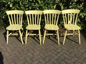 Four traditional wooden cottage style chairs