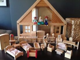 PLAN TOYS My First wooden Dolls House complete with furniture and dolls ECO WOOD
