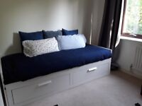 Single bed (transfoms to double bed) w 2 drawers & 2 mattresses