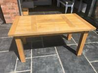 Large Rustic Oak Dining Table with Two Extension Pieces and Eight Chairs