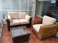 Marks and Spencer Conservatory Furniture. Sofa, Arm Chair and side table.