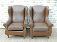 Brown Pair of Armchairs (Delivery)