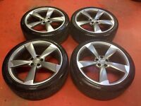 20'' GENUINE AUDI A6 S LINE BLACK EDITION ROTOR ALLOY WHEELS TYRES A4 A5 A7 TTRS