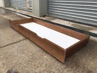 Brand new solid pine under bed storage drawer on wheels oak effect