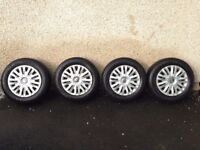 """4 x Genuine 15"""" VW Steel Wheels with Trim and Michelin Alpin Winter Tyres (7mm tread)"""