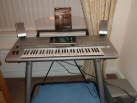 YAMAHA TYROS 3 KEYBOARD COMPLETE WITH MS SPEAKERS AND BASS PLUS YAMAHA L7S STAND EXCELLENT CONDITION
