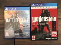PS4 Games - Battlefield 1 - Wolfenstein The New Order - Strange Brigade - The Witcher 3: Wild Hunt
