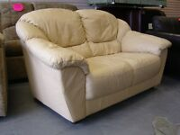 Cream Leather 2 Seater Sofa Settee