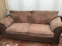 Brown Leather/soft cord 3 Seater sofa and Armchair