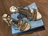 Stunning Matt gold size 5 2.5inch diamanté heels