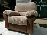 NEW Beige Cord and Brown Rhyno Leather Armchair Chair DELIVERY AVAILABLE