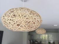 Wicker as new lampshades x2
