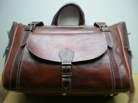 100% GENUINE LEATHER BAG TRAVEL BAG WEEKEND BAG
