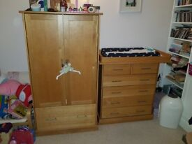 Children's Oak Furniture Set - Cot bed/bed - Chest of Drawers - Wardrobe