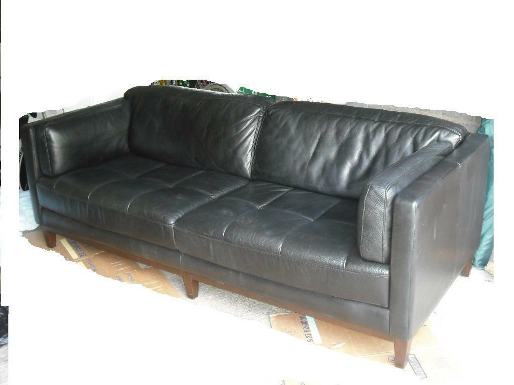 Black Real Leather Settee In Royton Manchester Gumtree
