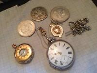 Silver and gold watches and coins