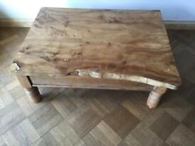 Large Handmade Coffee Table Victorian Pine Base With Reclaimed Elm Table Top.