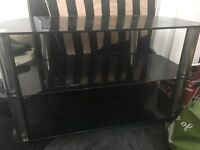 Tv stand black glass fit up 32 inc