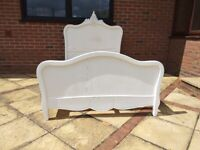 19th Century Antique French Victorian Small Double Bed frame painted mahogany