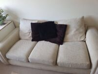 3 Seater Beige Fabric Sofa in Good Condition