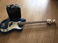 Gear4music bass guitar and fender squier amp