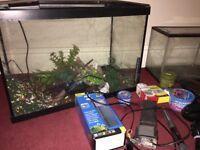 Large 75L aquarium plus smaller fish tank heater filter food accessories