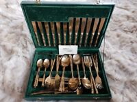 Handmade solid bronze canteen of cutlery. 51piece bamboo style handles. In presentation box.
