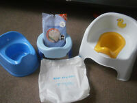 3 potties, Potette Plus Travel Potty, Boots, and Ducks Potty Chair