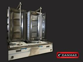 CANMAC DOUBLE DONER KEBAB MACHINE TWIN 2x4 BURNER NATURAL GAS