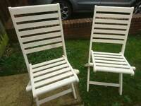 2 x Cream Painted Wooden Fold Up Garden/Indoor Chairs