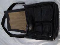 FOSSIL LARGE BLACK LEATHER MESSENGER/NOTEBOOK BAG