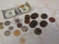 Mixed British coins and Dollar bill.